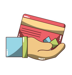 credit card electronic currency in the hand vector image