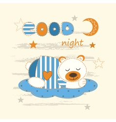 Cute babackground with sleeping bear vector