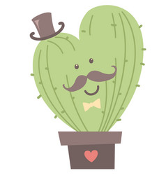 cute cactus heart shaped with jentleman cylinder vector image