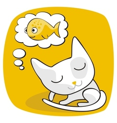 Cute Cat Dreaming vector image