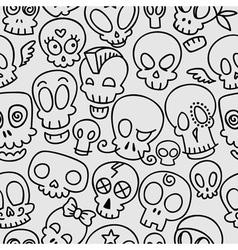 Cute skulls pattern vector