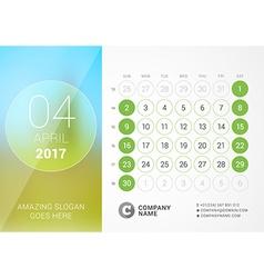 Desk Calendar for 2017 Year April Design Print vector image
