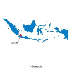 detailed map indonesia and capital city jakarta vector image