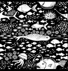 doodle seamless cartoon underwater background vector image vector image