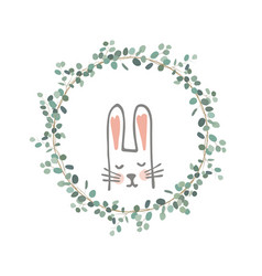 easter eucalyptus wreath with a sweet bunny vector image