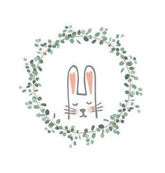 Easter eucalyptus wreath with a sweet bunny vector
