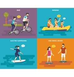 Family with kids active life vector