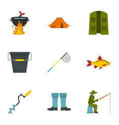 fisherman equipment icons set flat style vector image