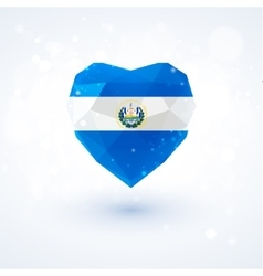 Flag of El Salvador in shape diamond glass heart vector