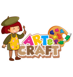 Font design for art and craft with happy girl vector