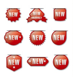 Glossy new advertising badges vector