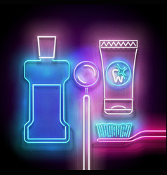 glow toothpaste toothbrush mouthwash bottle vector image