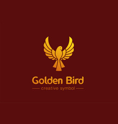 golden bird in flight creative symbol concept vector image