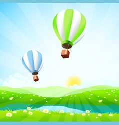 Green Landscape with Lake and Hot Air Balloons vector