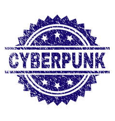 Grunge textured cyberpunk stamp seal vector