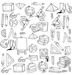 Hand draw school element doodles vector