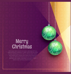 Hanging christmas balls on purple background vector