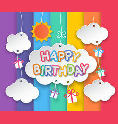 Happy birthday clouds and rainbow sky background vector image