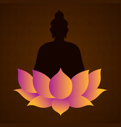 happy vesak day card buddha and lotus flower vector image