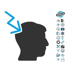 Head Electric Strike Icon With Copter Tools Bonus vector