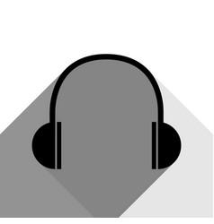 headphones sign black icon vector image