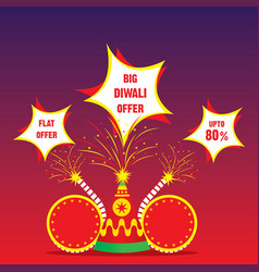 Indian big festival diwali offer poster design vector