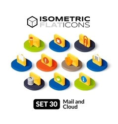 Isometric flat icons set 30 vector