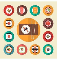 Japanese food sushi icons set vector image