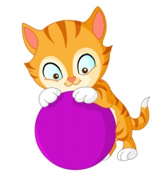 kitten with ball vector image