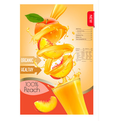 label of peach juice splash in a glass desing vector image