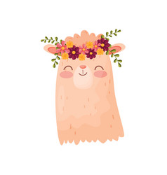 Lama head with flower wreath flora and fauna vector