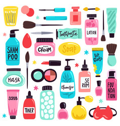 Makeup skincare elements cosmetics products vector