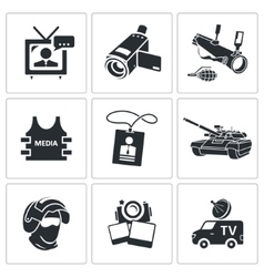 Media broadcasting from a war zone Icons set vector