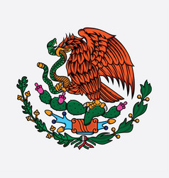 Mexico flag eagle and snake vector