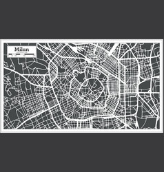 Milan italy city map in retro style outline map vector