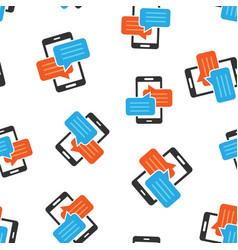 mobile phone chat sign icon seamless pattern vector image