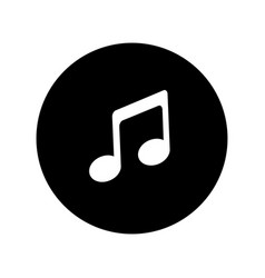 Music icon in black circle musical note icon vector