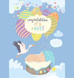 nice card with stork and baby on blue sky vector image