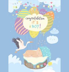nice card with stork and baon blue sky vector image