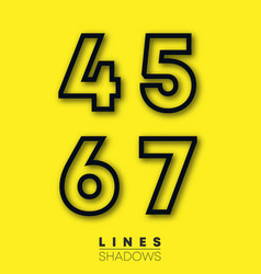 numbers linear design set number 4 5 6 7 vector image
