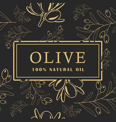 olive with leaves on dark background seamless vector image