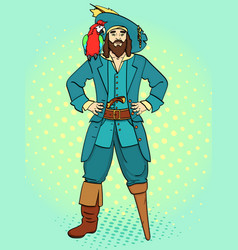 one-legged captain wooden foot man is a pirate vector image