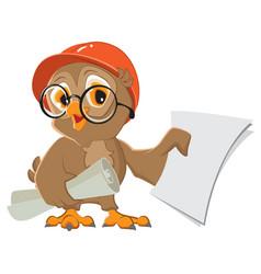 Owl engineer builder in helmet with drawings paper vector