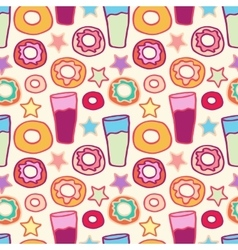 Pattern sweet donuts vector image