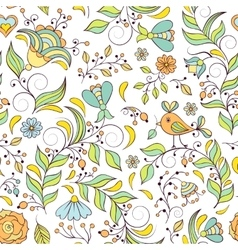 Pattern with abstract flowers vector
