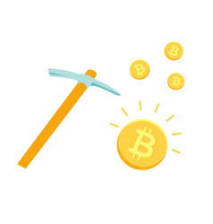 pickaxe and bitcoins mining cryptocurrency vector image