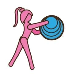 pictogram girl sport ball element vector image