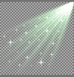 Rays of light with stars green color vector
