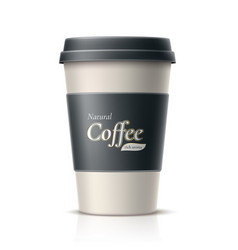 realistic coffee in disposable paper cup vector image