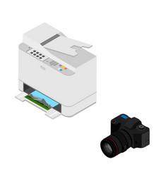 realistic isometric printer vector image